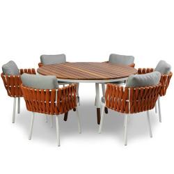 Conjunto Mesa e Cadeiras Nath Tricô Náutico