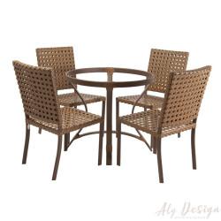 Conjunto Diamante e Cadeiras em Fibra