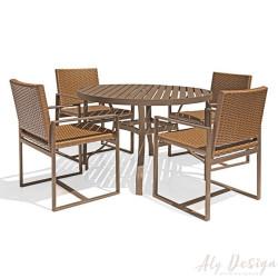 Conjunto Mesa Domus Ripada e Cadeiras em Fibra