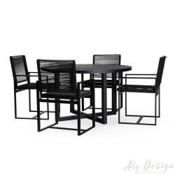 Conjunto Mesa Young  e Cadeiras Domus em Cordão - Design Studio MA